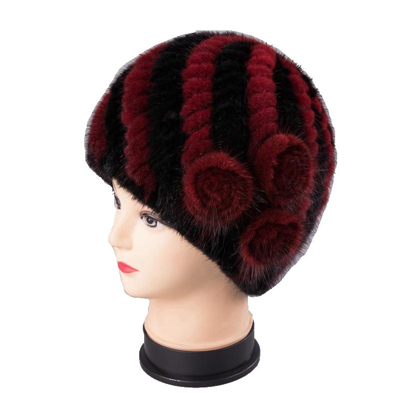 Handmade Women Real Knitted Mink Fur Skullies Beanies Hats  Winter Lady Lining Caps Fashion Headgear LF5174