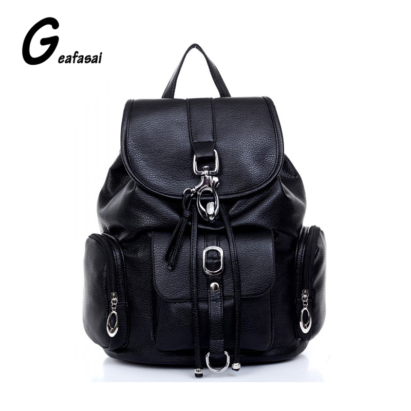 New ladies black brown PU leather school bag backpack for women lady students teenagers girls casual fashion Large capacity 2018 new casual girls backpack pu leather 8 colors fashion women backpack school travel bag with bear doll for teenagers girls page 7