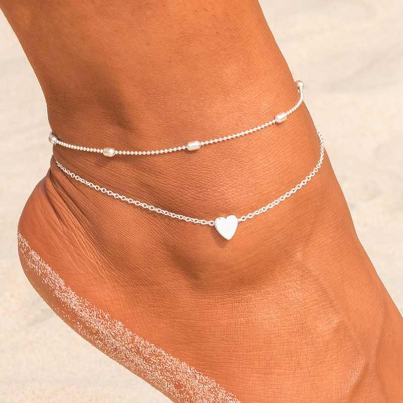 H: hído Simple corazón mujer tobilleras descalzas sandalias de ganchillo joyería de pie tobilleras en cadena de pie pulseras de tobillo para mujer