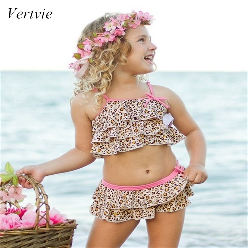 Vertvie Summer Baby Kids Girl Two Piece Swimsuit Child Swimwear Water Sport  Swim Dress Beach Leopard Bathing Costume 2019