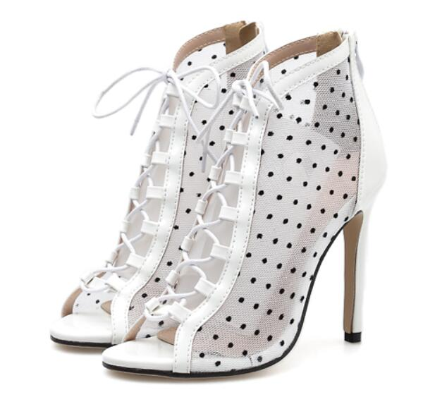 06cb52775c9 lace-up Hollowing out shoes spring ankle boots high heels woman shoe ladies  sexy booties girls chaussures femme ete A11032