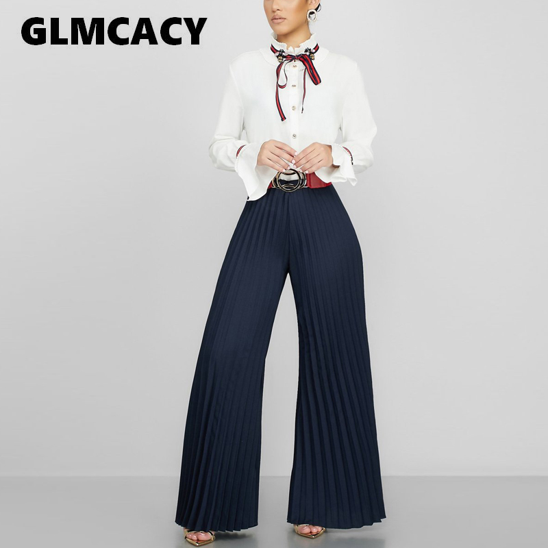 Women Wide Leg Pleated   Pants   Elagant OL Workwear Summer Beach High Waist Trousers Chic Streetwear Casual   Pants     Capris   Female