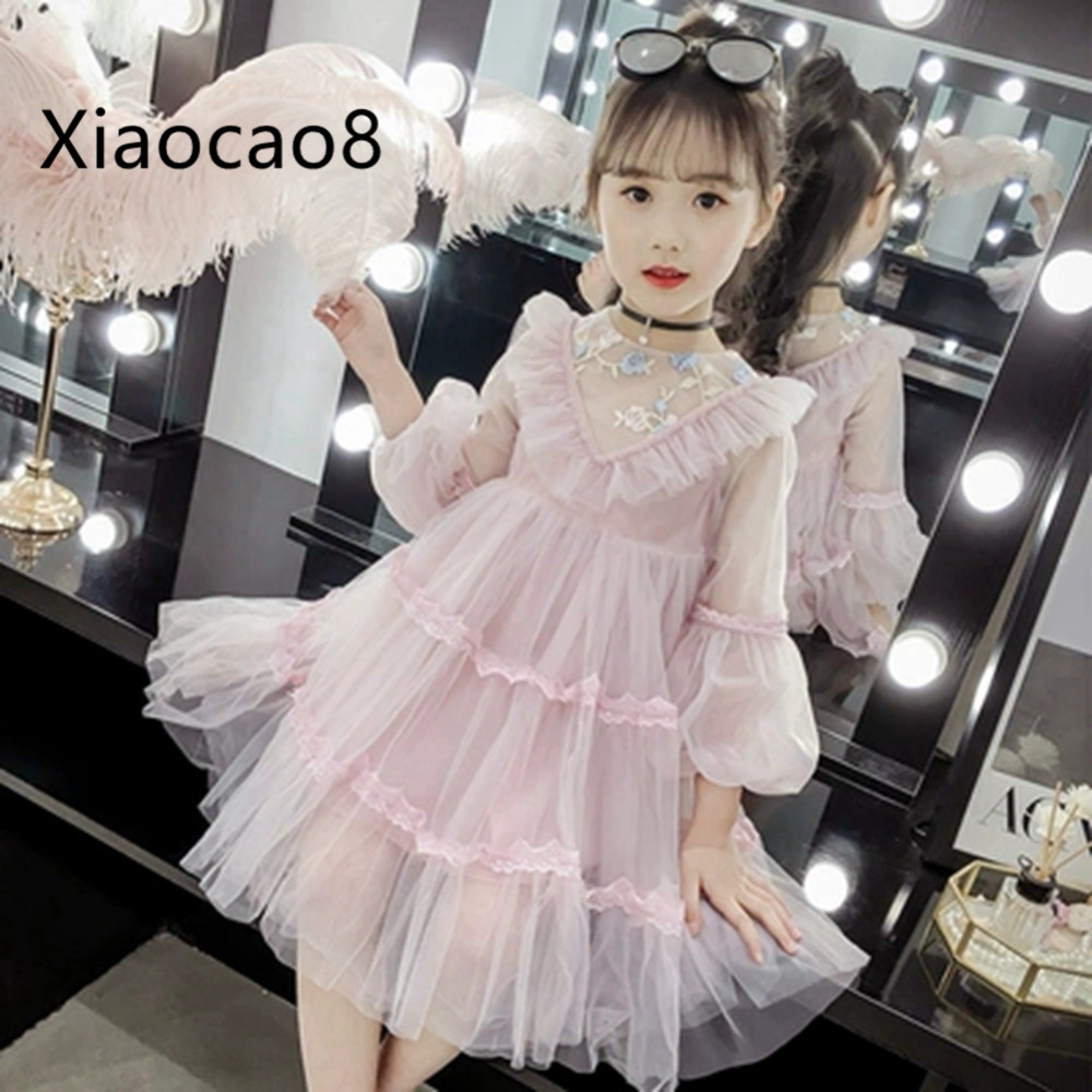 Spring Kids Long Sleeve Ruffles Princess Dress Cute Solid Dresses for Girls 2019High Quality Summer Party Dress Children Clothes