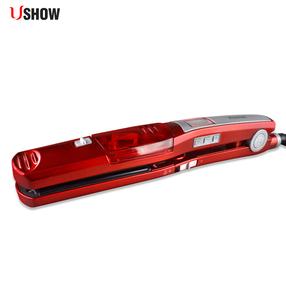 USHOW Fast Heating Steam Hair Straightener Professional Hairstyling Ceramic Hair Straightener Flat Iron Styling Beauty Hair Tool professional fast hair straightener nano titanium plates straightener hair iron hair flat iron u style beauty hair care tools
