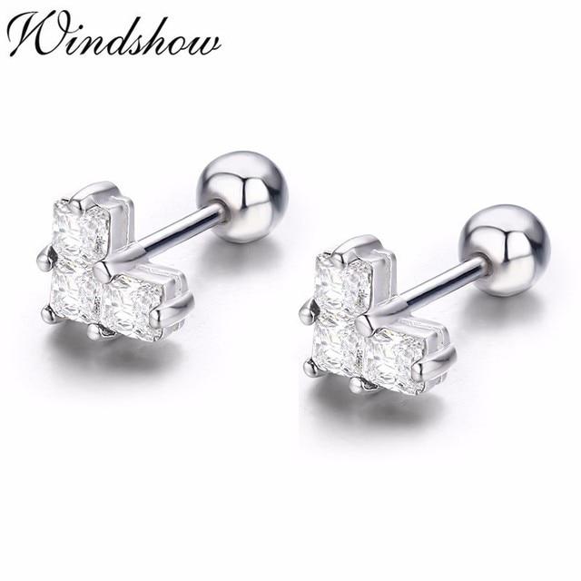 dfe2c5078 Cute 925 Sterling Silver Splice Love Heart Screw Back Stud Earrings For  Women Girls Children Kids Jewelry Orecchini Aros Aretes
