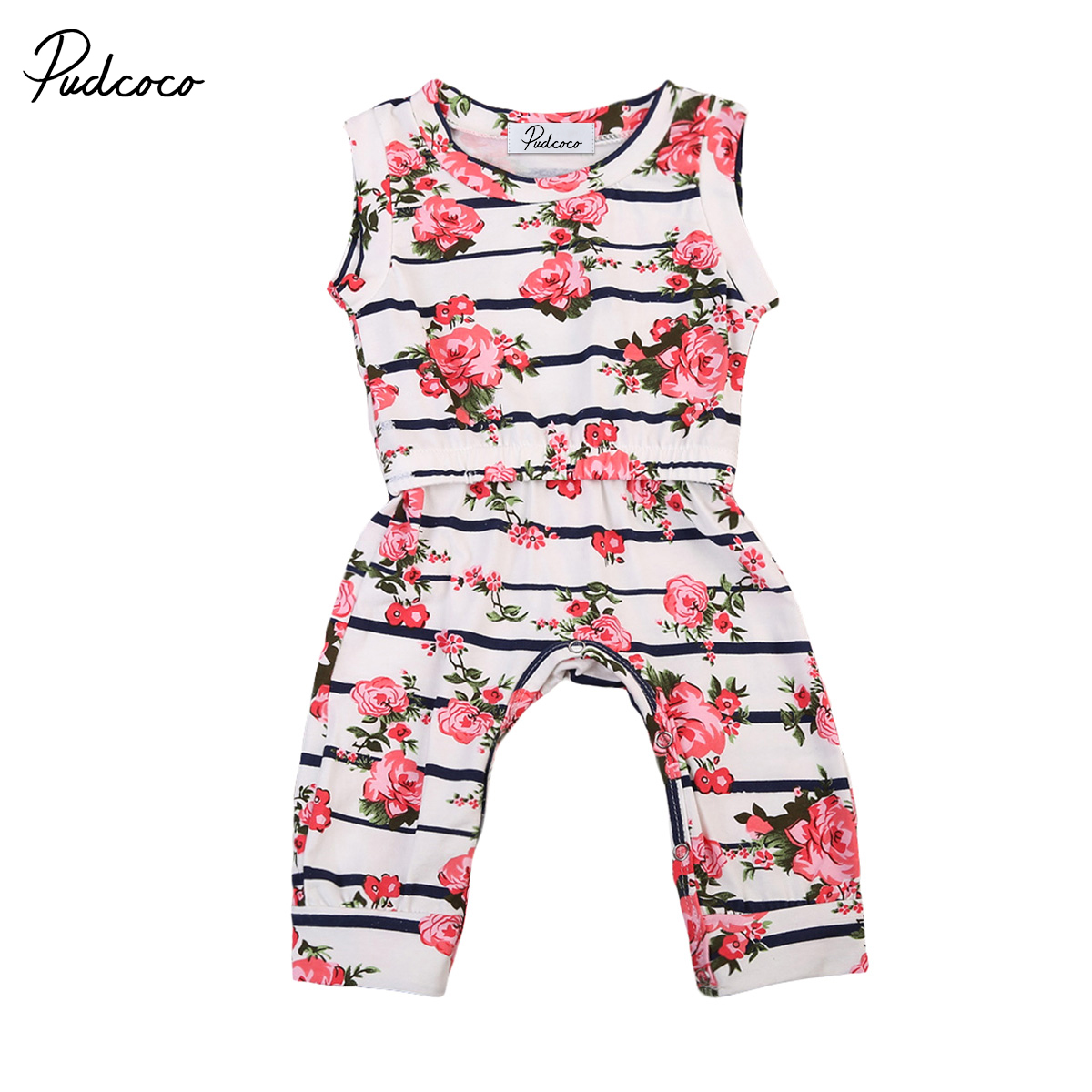 Pudcoco Newborn Infant Baby Girl Kids Floral Romper Sleeve Jumpsuit Long Pants One-Piece Clothes Outfit Onepiece