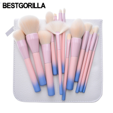 Best quality Gradient Color Professional Makeup Brushes Set Pro 14pcs Cosmetic Brush Set with Leather Bag Pink Yellow