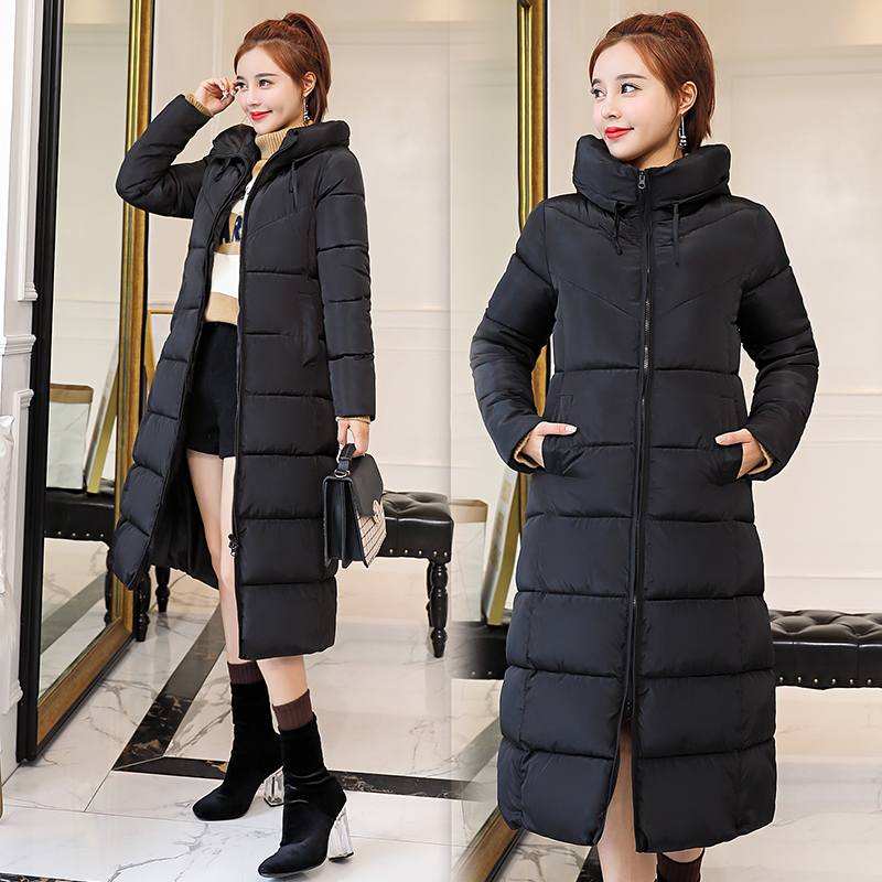 On sale Autumn winter Women Fashion Down long hoodie down Parkas Cotton Jackets Thick Female Long warm coat clothing