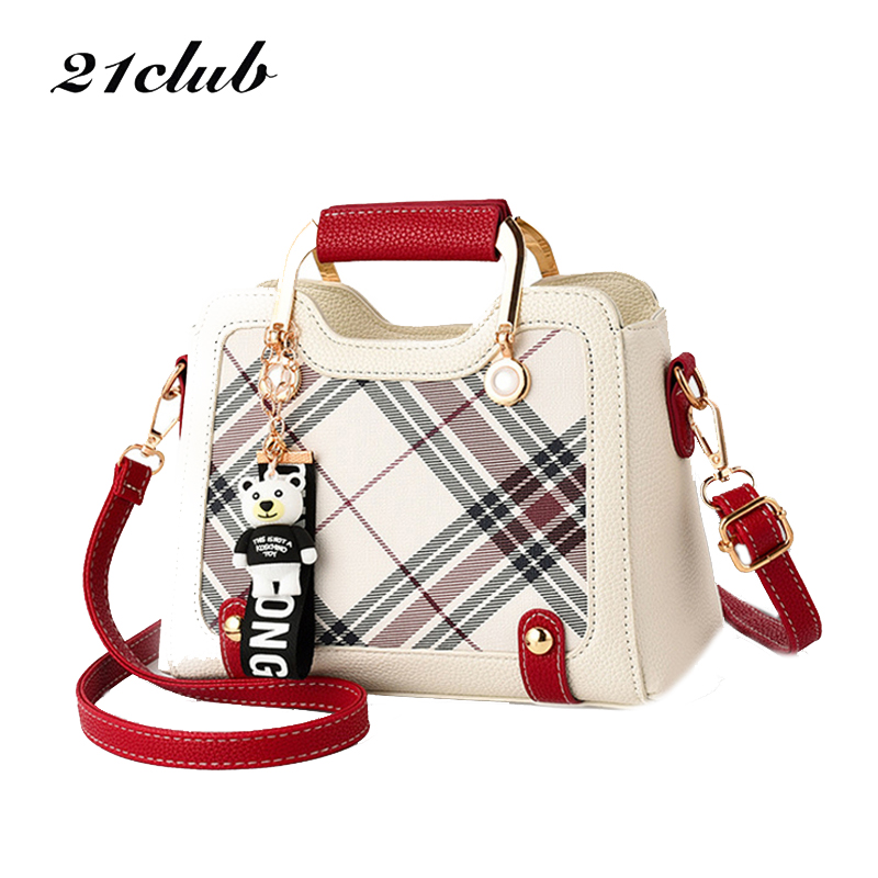 21CLUB Brand Small Casual Plaid Strap Ladies Totes Shopping Party Versatile Women's Wallet Cute Women Messenger Bags Handbags