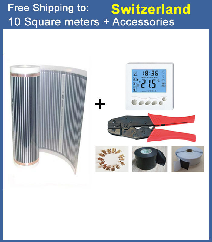 Free shipping to Sweden,10 Sqare meter CE certified electric Heating film, underfloor heating film AC220V +-10V stealth bomber electric bike sweden 72v 18ah lifepo4 65a