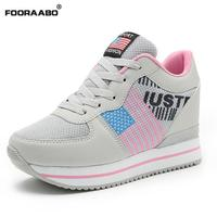 Fooraabo Basket Femme 2017 Tenis Feminino Casual Shoes Hidden Heels Platform Wedges Sneakers Women Walking Shoes