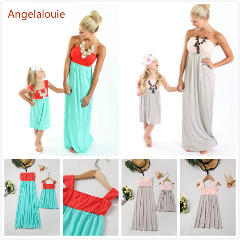 2019 Mother daughter dress family matching outfits Neon Coral Pink Damask Maxi Dress Chilren girl summer mommy and me clothes(China)