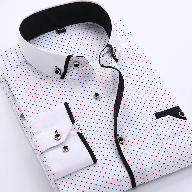 <font><b>Mens</b></font> <font><b>Shirts</b></font> Fashionable Casual Slim Fit Print Dress <font><b>Shirts</b></font> <font><b>Men</b></font> Business Long Sleeve <font><b>Men</b></font> <font><b>Polka</b></font> <font><b>dot</b></font> <font><b>Shirt</b></font> Plus Size Comfortalbe image