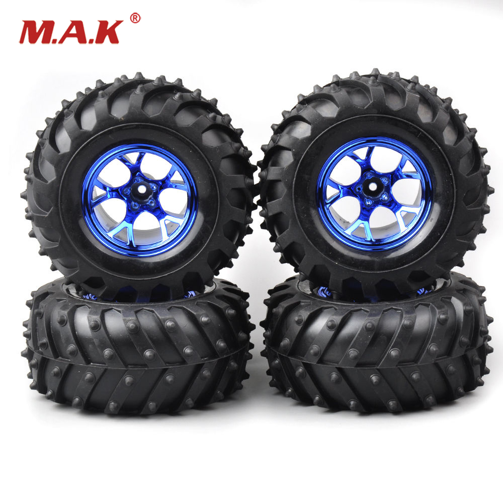 4 PCS/Set Tires Wheel Rim 3002B For HSP Racing 1:10 RC Bigfoot truck Car 12mm Hex rc toy car wheel durable rc car defender frame set for