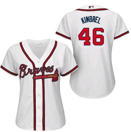 2015 New stittched Lady Atlanta Braves 46 Craig Kimbrel Jersey Women White  Cool Base braves baseball Jerseys shirts Cheap S~2XL 5f228f353