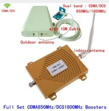 Full Set Dual Band 65dbi CDMA 850MHz + DCS 1800Mhz Repeater Mobile Phone Signal Repeater CDMA 4G DCS Booster Amplifier+Antenna