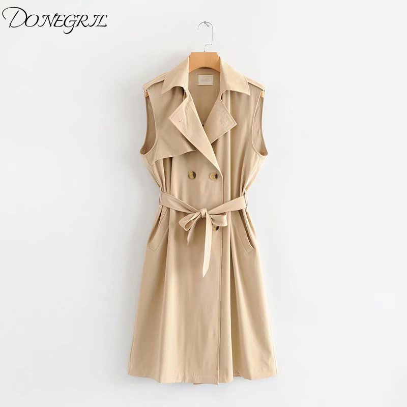 2019 spring and summer new vest sleeveless long sleeved loose vest trench coat