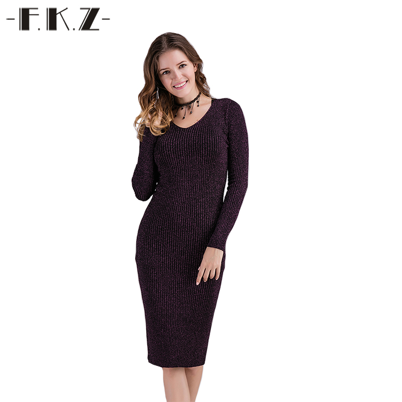 FKZ Dress Women Solid Color Deep O Neck Sexy Backless Female Dress Full Sleeve Bodycon Hollow