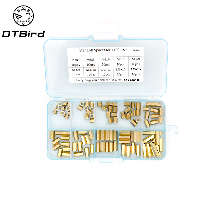 100Pcs/set M2 M2.5 <font><b>M3</b></font> Hex Head <font><b>Brass</b></font> Spacing <font><b>Screws</b></font> Threaded Pillar PCB Computer PC Motherboard StandOff Spacer Kit TZ002 image