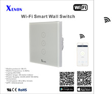 Xenon WiFi smart remote control wall switch 3 gang EU Light Switch panel smart mobile control via APP Panel turn on/off switch