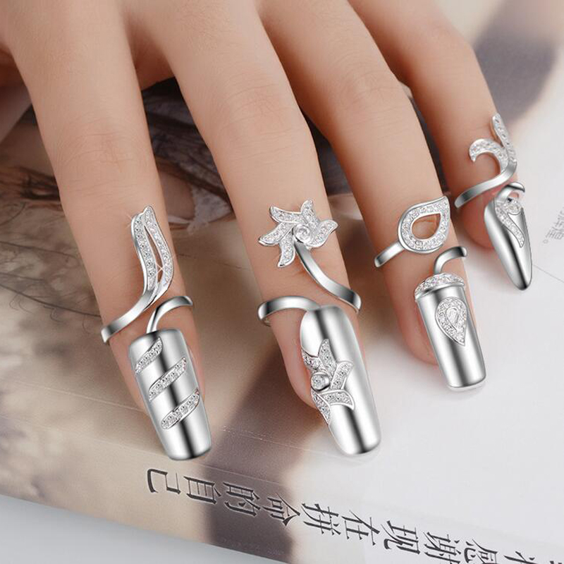 JEXXI S90 Silver Cubic Zircon   Fingernail Rings For Women Party Wedding Gifts Wholesale Fashion Finger Nail Ring