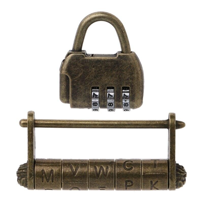Antique U Shape Lock Combination Password Padlocks Decor Locks for Jewelry Wooden Box