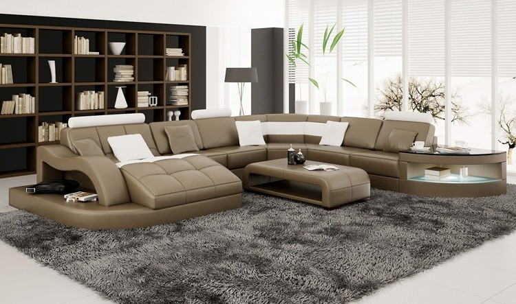 Comfortable Simple U-Shape Modern Genuine Leisure leather sofa Best-Selling Brief Casual Chair home furniture with side table 4