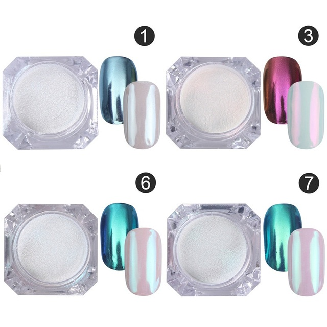 4Pc Magic Mirror Powder Dust Nail Glitter DIY Nail Art Tips Sequins Chrome Effect Pigment Nail Art Decoration Tools