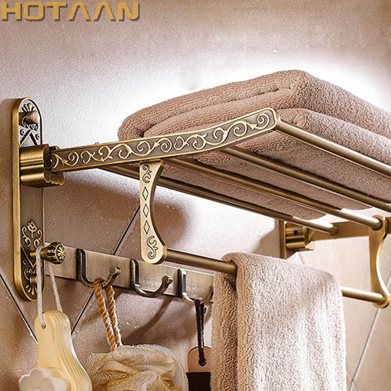 Towel-Rack Bathroom-Accessories Antique Foldable Aluminum Brass with Hooks Active