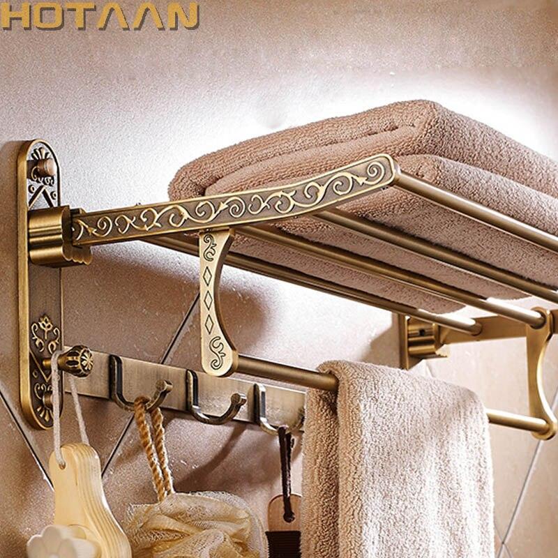 Alumínio dobrável antique bronze toalheiro de banho ativo toalheiro do banheiro titular toalha dupla prateleira com ganchos acessórios do banheiro