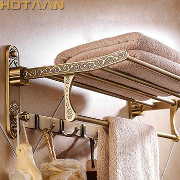 Aluminiowy składany antyczny mosiężny wieszak na ręczniki aktywny uchwyt na ręcznik łazienkowy podwójna półka na ręczniki z haczykami akcesoria łazienkowe tanie i dobre opinie HOTAAN Ruchomy uchwyt na ręcznik kąpielowy Romantyczny Aluminum Wieszaki na ręczniki Brass YT-4010-55 50-60 cm Antique Brass