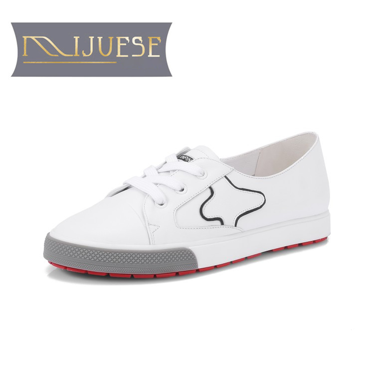 MLJUESE 2018 women sneakers Genuine leather lace up white color spring Vulcanize Shoes loafers women flats women size 34 39