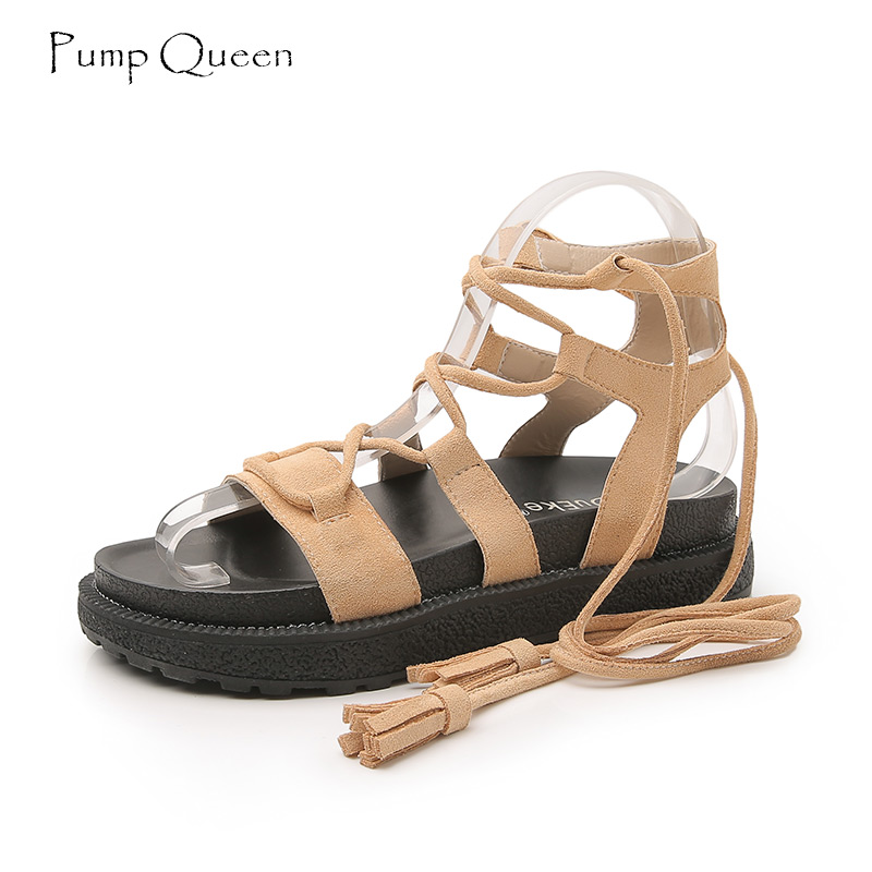 PumpQueen Gladiator Sandals Women Shoes Summer Platform Sandals Suede Leather Ladies Sandalias Shoes Flat Cross Tied Black Green nemaone new flat women slippers suede leather sandals woman summer style pearl beath women shoes black apricot pink green