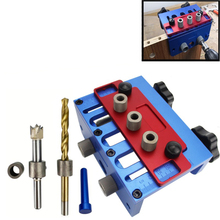 Pocket Hole Drill Guide Dowel Jig Set 3 In 1 Drill Guide Set Locator Woodworking Locate Punch Jig Kit + Step Drilling Bit