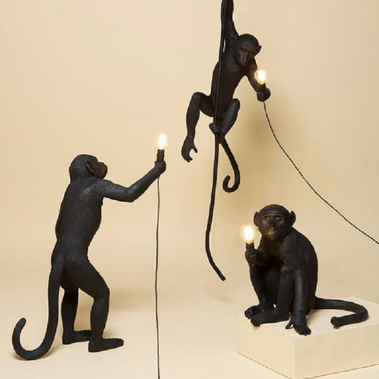 Résine noir blanc or singe lampe suspension pour salon lampes Art salon salle d'étude Led lumières lustre avec E27 Led ampoule
