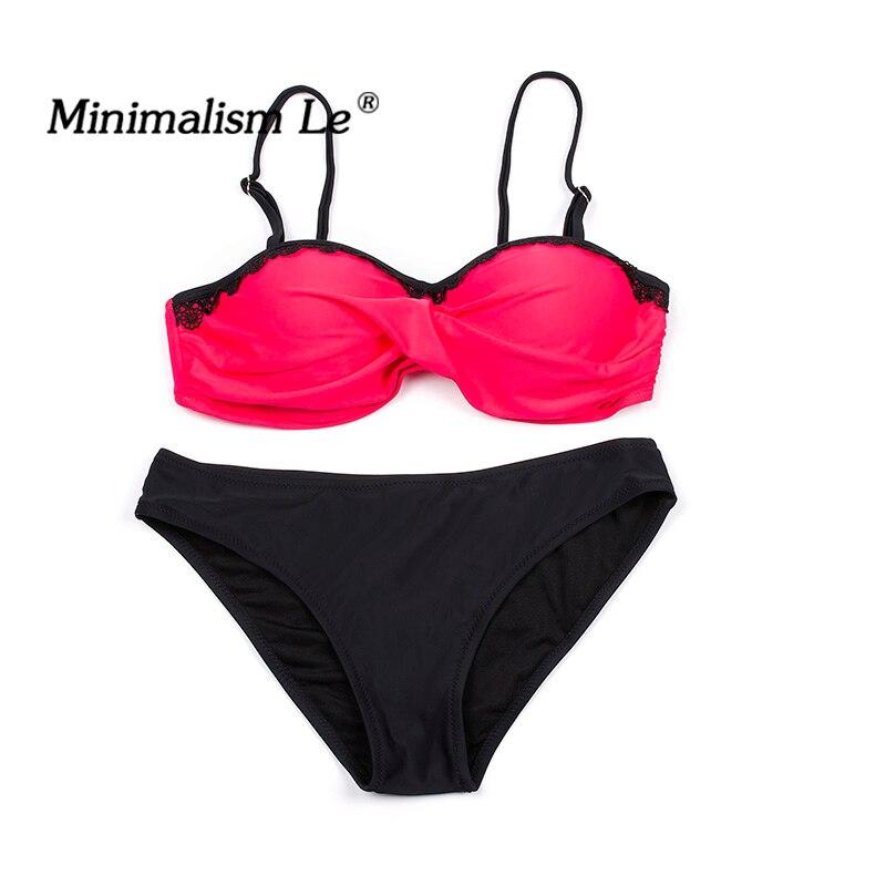 Minimalism Le Lace Patchwork Bikini Sexy Plus Size Push Up Swimwear Women Bathing Suit Solid Bikini Set 2018 New Swimsuit BK764 5