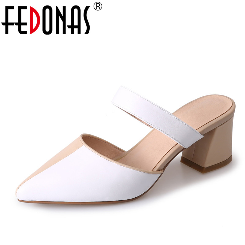 FEDONAS 2018 Women Sandals Genuine Leather Shoes Woman Pointed Toe Mid Heels Fashion Dress Rome Shoes Comfortable Ladies Slipper fedonas new arrival gray pink women low heels casual shoes comfortable four season pointed toe loafers shoes woman