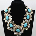Latest Handmade Shell Flower Necklace Turquoise Beads Jewelry Necklace Exaggerated Stone Necklace For Woman Free Shipping ALJ606