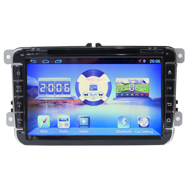 "Quad core 8 ""2din HD 1024*600 Android 4.4.4 dvd do carro para VW Golf 5 Golf 6 Magotan CC Tiguan com Gps de Navegação WIFI 3G BlueTooth"