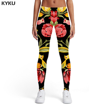 KYKU Flower Leggings Women Black 3d Print Colorful Ladies Leaf Elastic Sexy Womens Pants Fitness Slim Skinny Pencil