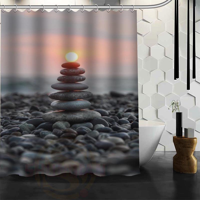Xüsusi Zen daş Duş Perdesi Polyester Parça Daha çox ölçülü - Ev əşyaları - Fotoqrafiya 1