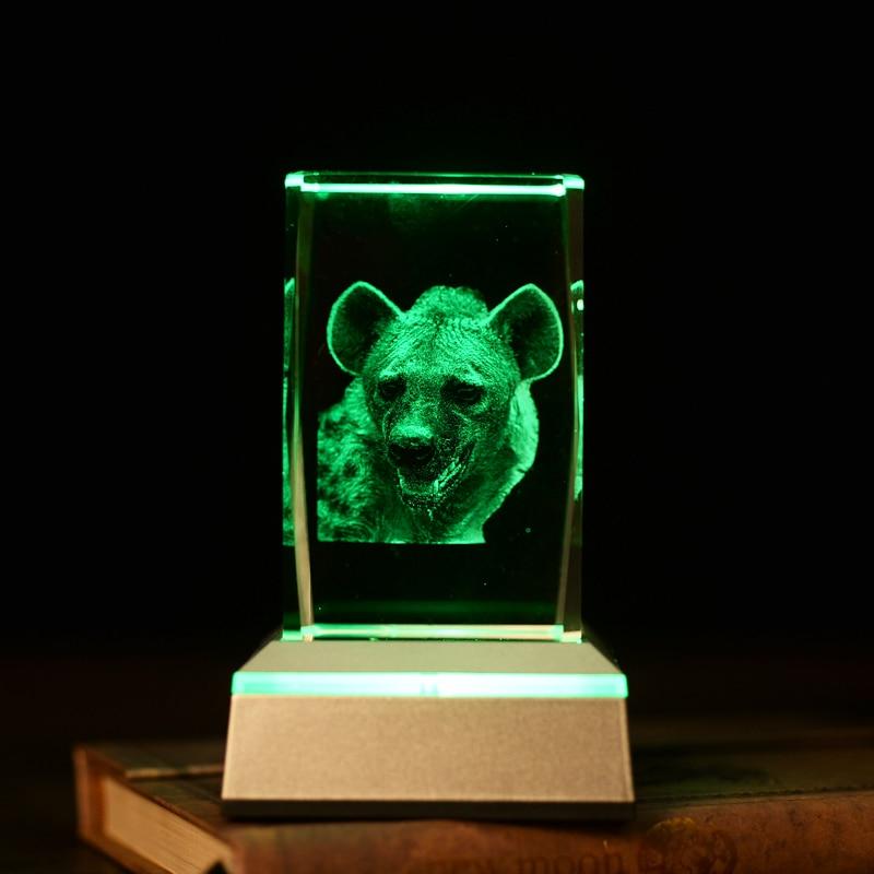 Veilleuse en cristal en forme de léopard animal 3D en cristal pour - Veilleuses - Photo 3