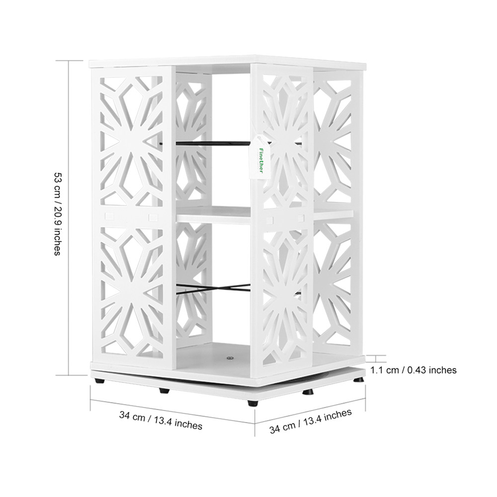 Finether 2-Tier Modular 360 Degree Swivel Rotatable Cut-Out Wood Plastic Composite Shelf Unit Bookcase Storage Organizer5