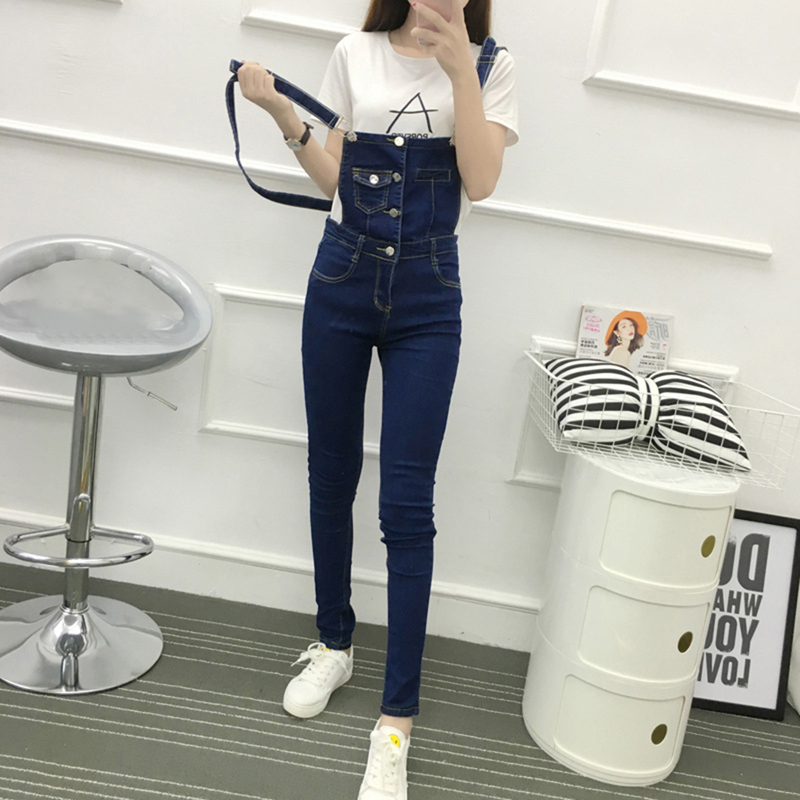 Women Jumpsuit Denim Overalls Spring Autumn Casual Skinny Pants with Pockets Jeans