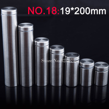 19*200mm Stainless steel fasteners advertisement glass standoff hollow screw cabinet display 500PCS wholesale KF850