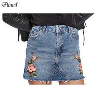 Flinna 2017 Womens Floral Rose Embroidery Mini Pencil Casual Denim Blue Black Skirt