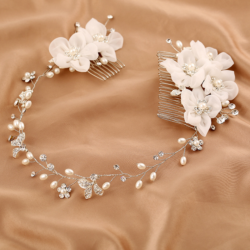 White Flower Headdress Floral Hair Comb Crystal Headpiece