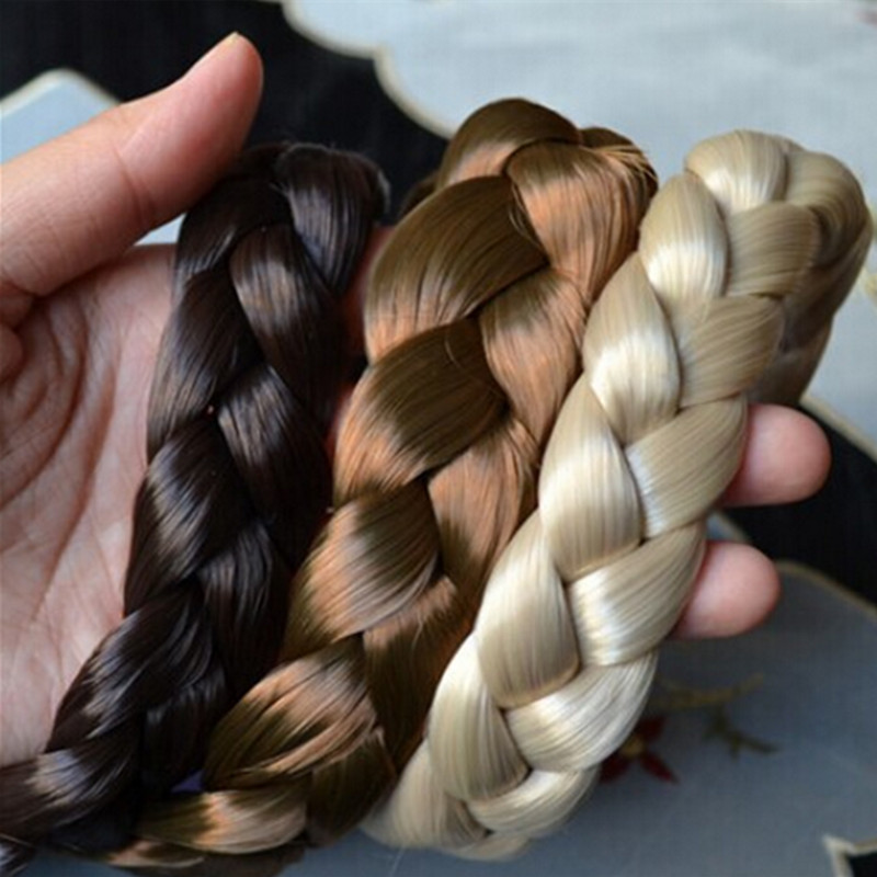 2.5cm wide WIG HEADBAND fishtail braided New bohemian wigs braid thick wide headband popular fashion hair accessories metting joura vintage bohemian green mixed color flower satin cross ethnic fabric elastic turban headband hair accessories