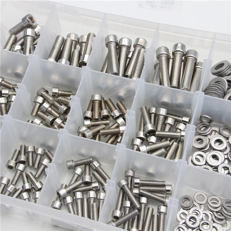 345PCS Stainless Steel Cylinder Head Hexagon Screw Locknut Nut Bolt Washer Kit M5/M6/M8 Assortment Kit with Plastic Box Pakistan
