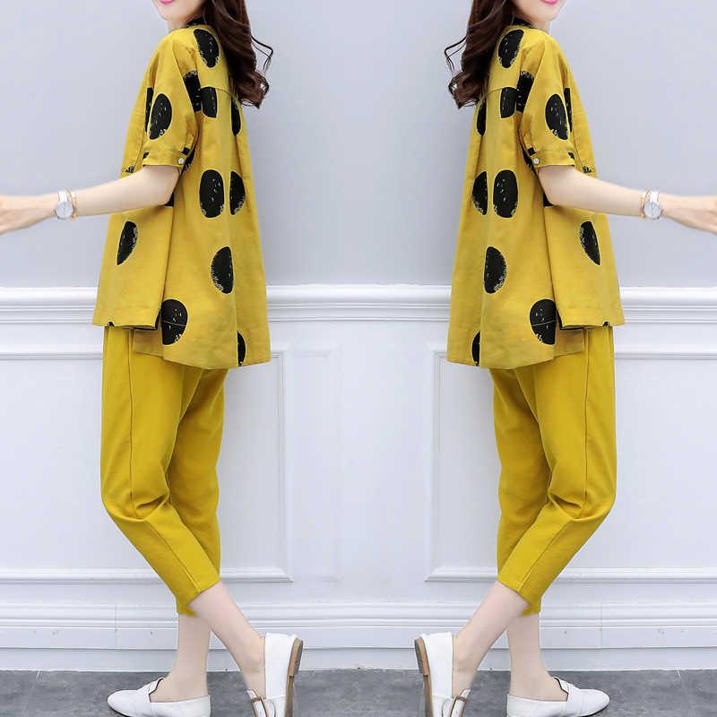Żółty dwa sztuk lato zestaw 2019 lato damskie stroje spodnie garnitury damskie plus rozmiar polka dot topy pościel dres odzież